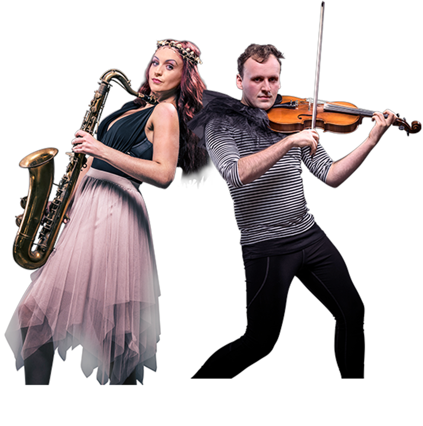 Woman playing saxophone and man playing fiddle